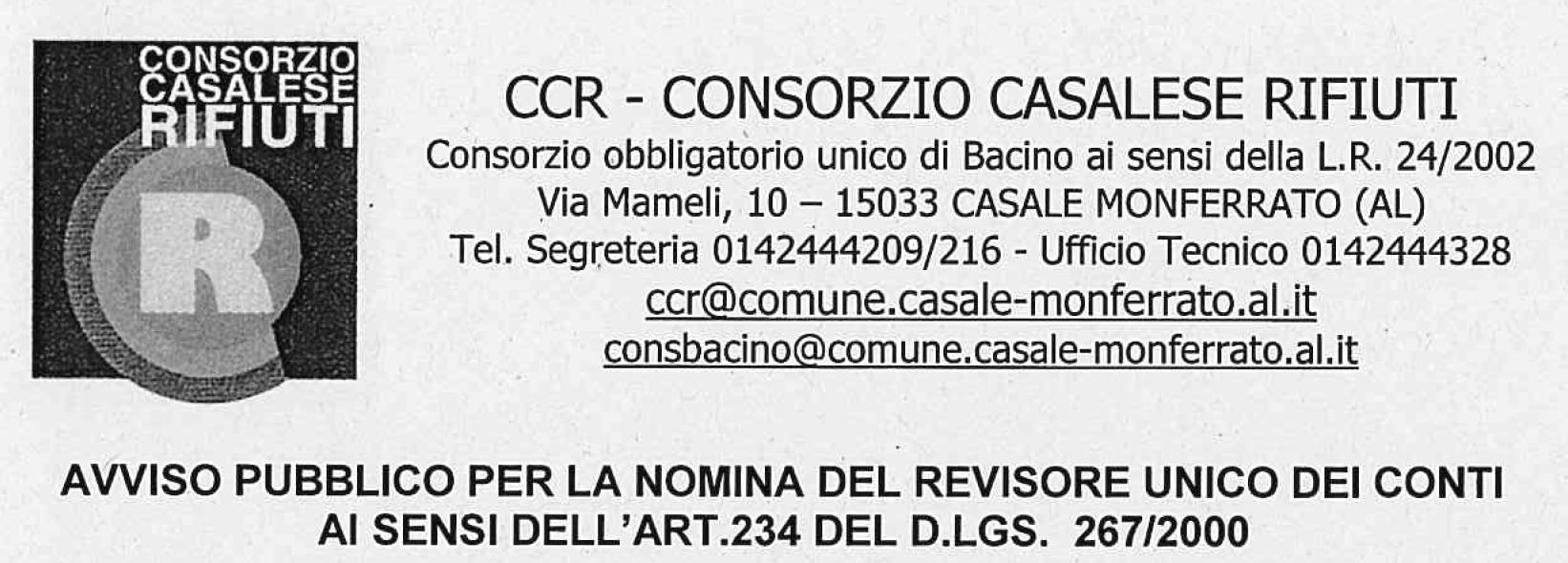 Avviso Per Nomina Del Revisore Unico Dei Conti Ai Sensi Art. 234 Del D.Lgs. 267/2000